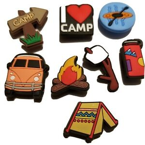 I Heart Camping Shoe Charms! 8PC Set! Tent Fire Marshmallow+ For Crocs, Clogs,