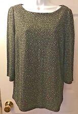 New Women's ANN TAYLOR LOFT Marled Knit Sweater Sweatshirt Black White Sz L