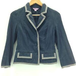 Monsoon Cropped Blazer Jacket Blue Size 8 Boxy Blogger Style