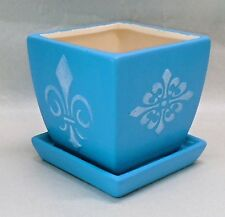 "Handmade Stenciled Square Ceramic Indoor Flower Pot, Fleur de Lis, 4"""