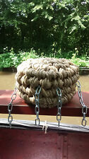 BUTTON BROWN ROPE FENDER FOR NARROWBOAT OR BARGE, NARROW BOAT, CANAL, STERN