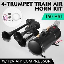 4-Trumpet 150 psi Air System 150dB+ Metal 12V Train Air Horn Kit for car truck
