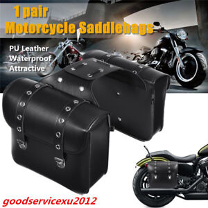 One Pair Black PU Leather Motorcycle ATV Left+Right Side Saddle Bag Luggage Bags
