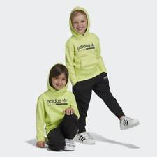 adidas Originals junior Kaval hooded set in lime & black. Ages 3-8 years.