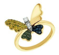 Goldenstar 0.30Ct.Blue,Green,Yellow & White Multi Color Diamond Butterfly Ring