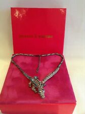 BUTLER & Wilson Lizard Crocodile Crystal Necklace New Boxed