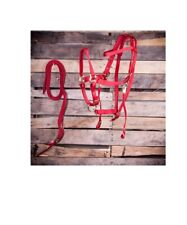 Bridle and Halter Combo with Reins For Horses Polypropylene Red