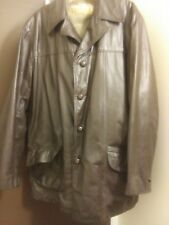 Montgomery Ward - Quality Outerwear - Size 44 Long Brown Leather Coat w/ lining
