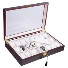 Ranura de 24 Caja Reloj De Madera De Ébano caso de Exhibición Organizador De Almacenamiento De Joyería De Vidrio Superior