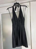 Vintage Fredericks Of Hollywood Dress Small Black Deep V Scoop Back Halter Top