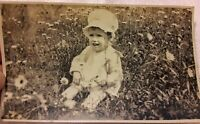 Vintage Old 1910 Photo of Cute Little Girl Wearing Sun Bonnet Cap in Daisy Field