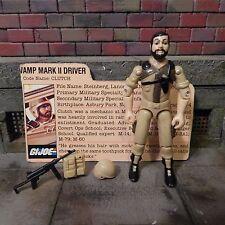 GI JOE ~ 1984 TAN CLUTCH ~ VAMP MARK II DRIVER ~ 110% COMPLETE with file card