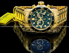 Invicta Mens Pro Diver Scuba Chronograph Green Dial 18K Gold Bracelet Watch 0075