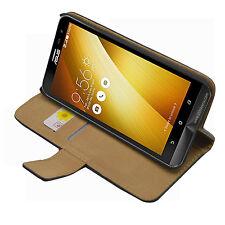 "Wallet BLACK Leather Flip Case Cover Pouch For Asus ZenFone 2 Laser ZE600KL 6.0"""