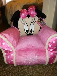 Disney Junior Minnie Mouse Kids Plush Sofa Bean Bag Chair With Sherpa Trimming
