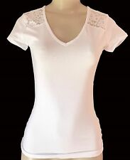 LACE T-Shirt Short Sleeve Womens / Juniors VNECK White Ambiance Small Stretch