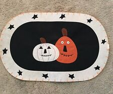 Country Primitive Halloween Jack O Lantern Pumpkin Placemat Place Mats Set of 2