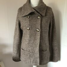 Marks & Spencer Taupe Brown Chunky Knit Cardigan Jacket Alpaca Mix Size 18