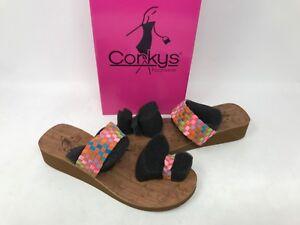 NEW! Corkys Women's Toasty Fashion Wedge Sandals Orange/Multi #40-3118 W116 z