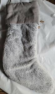 2 Pottery Barn Plush Faux Fur Stockings Large Gray NEW