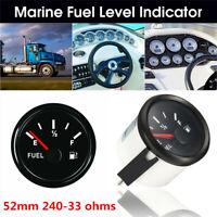 52mm 12/24V 240-33 Ohms Boat Marine Yacht Fuel Level Gauge Indicator Universal
