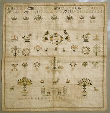 1842 DUTCH ANTIQUE SILK ON LINEN NEEDLEWORK SAMPLER 13 YEAR OLD GIRL