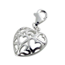 925 Sterling Silver Lobster Clasp Charm  Ajoure Open Heart Charm - 6x15mm-Boxed