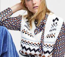 NWT Zara Ecru Jacquard V Neck Knit Vest Waistcoat Sleeveless Jumper Sweater L