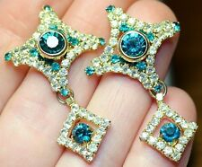BEAUTIFUL PRE-LOVED EARRINGS - SPARKLING JADE GREEN AND CLEAR DIAMANTES