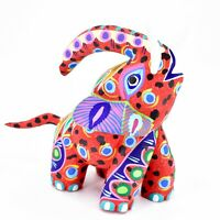 "Handmade Alebrijes Oaxacan Painted Carved Wood Folk Art Elephant 6"" Figure"