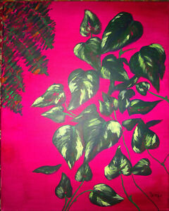 Still Life Plants Ferns Pothos Painting by West Davis Acrylic New From Gallery