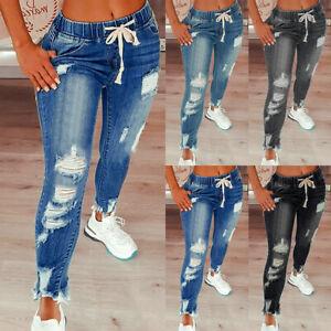 Womens Fashion Ripped Jeans Elastic Waist Trousers Ladies Skinny Fit Denim Pants
