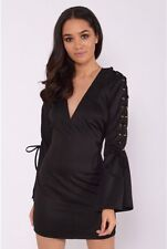 BNWT RARE LONDON@LIPSY BLACK LACE UP BELL SLEEVED BODYCON DRESS SIZE 12 £49
