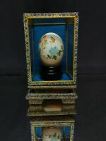 MIXED FLOWERS & BUTTERFLY! Vintage Chinese Hand Painted Egg SIGNED Eggshell OBFB