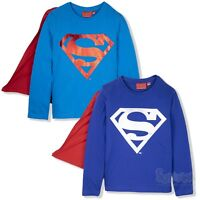 Superman Super Hero Boys Long Sleeve Top T Shirt with CAPE 2-8 years 100% Cotton