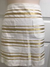 J. Crew Coton Linen Womens Size 8 Gold White Striped Mini Skirt Used Once