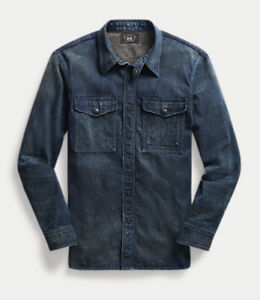 RRL Ralph Lauren Men's Large L Selvedge Denim Workwear Workshirt MSRP $349