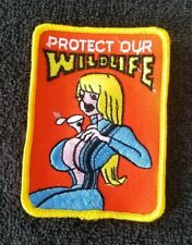 VINTAGE 1970s protect our WILDLIFE FUNNY RatFink HotRod MOTORCYCLE BIKER PATCH