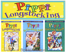 Pippi Longstocking,Goes On Board & South Seas by Astrid Lindgren 3 Paperback Set