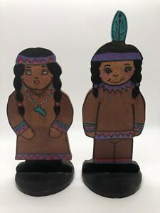 Vintage Set 2 Hand Painted Wooden Indigenous Decor, ADORABLE, Made in USA