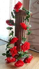 Rosengirlande rot ca.190 cm  Blüte ca. 12 cm Kunstblumen -Seidenblumen