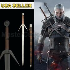 "49"" Sword Witcher Replica Steel 2 Geralts Aerondight Silver Stainless  Cosplay"