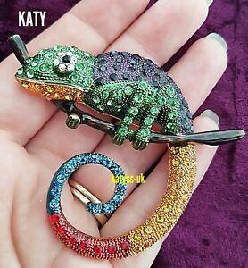 Large Pendant Crystal Chameleons Green Purple Lizard Brooch Gold Tone Pin Gift