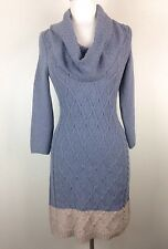Anthropologie Sparrow Gray / Beige Color Block Cowl Turtleneck Sweater Dress XS