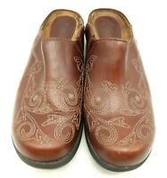 Ariat Chili Brown Stitched Leather Casual Slip On Clogs Shoes Women's 7.5 B