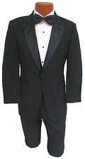Men's Black Tuxedo with Pants Satin Peak Lapel Cheap Prom Wedding Mason Tux