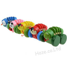 Creative Caterpillar Pull Toy Baby Wooden Toy Animal Toddler Toy Kid Present 1pc
