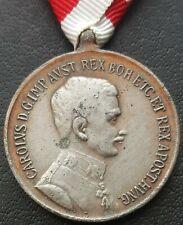 ✚4217✚ Austro-Hungarian WW1 Bravery Medal SILVER KARL IV. FORTITUDINI POST 1916