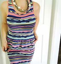 COOPER ST WOMENS DRESS KNIT BODYCON VISCOSE NYLIN STRIPED PEPLUM SZ S