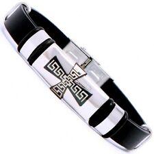 Armband Herren Männer schwarz Silber Kreuz Edelstahl Jesus Kautschuk Bike Surfer
